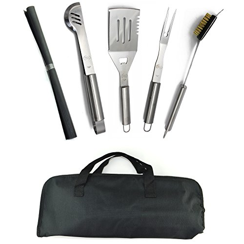Stainless Steel BBQ Grill Tools Set - 5 Piece Grilling Tool Accessories Barbecue Kit W/ Carry Bag and Silicone BBQ Mat (5) (Grill Barbaque)