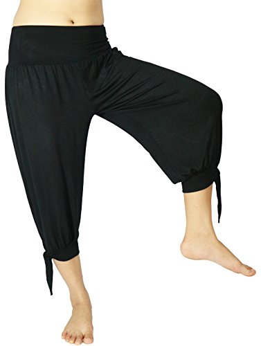 Lovely Creations Women's Casual Loose Capris Elastic Waist Pants Super Soft Spandex Training Sports Harem Hip-Hop Yoga/Pilates Capri Pants Free Size (S-L) (PT Black) by Lovely Creations