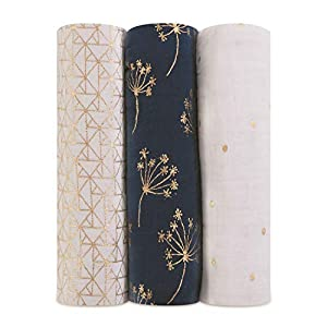 aden + anais Swaddle Blanket   Boutique Metallic Muslin Blankets   Ideal for Baby Girls & Boys   Receiving Swaddles Newborn Boy & Girl, Unisex Infant Gift Items, Wearable Blankets