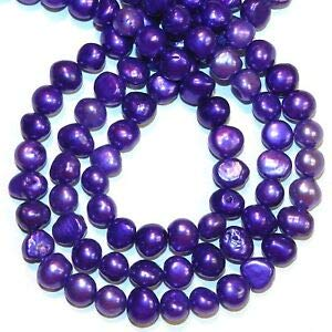 Steven_store NP520 Purple 8mm - 9mm Baroque Cultured Freshwater Pearl Beads 14