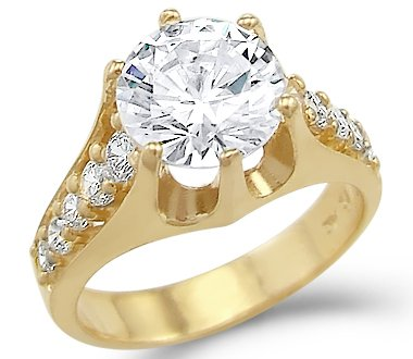 Gold Solitaire 14k Yellow Solid (Size- 8.5 - Solid 14k Yellow Gold Big Solitaire CZ Cubic Zirconia Engagement Ring 3.0 ct Round Cut)