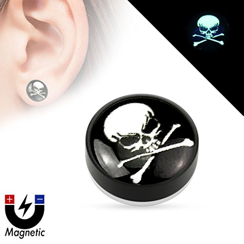 skull-logo-epoxy-dome-top-black-acrylic-glow-in-the-dark-fake-magnetic-plug-sold-as-a-pair