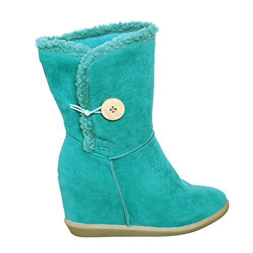 Hidden Wedge Boot - Comfortable Round Toe Winter Boots with Hidden Wedge (7.5, mint) [Apparel]