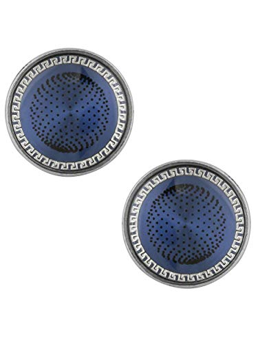 The Jewelbox Half Black & Silver Round & Blue Round Designer Dots Formal Shirt Blazer Suit Cufflinks of 2 Pair Men Gift Box by The Jewelbox (Image #2)