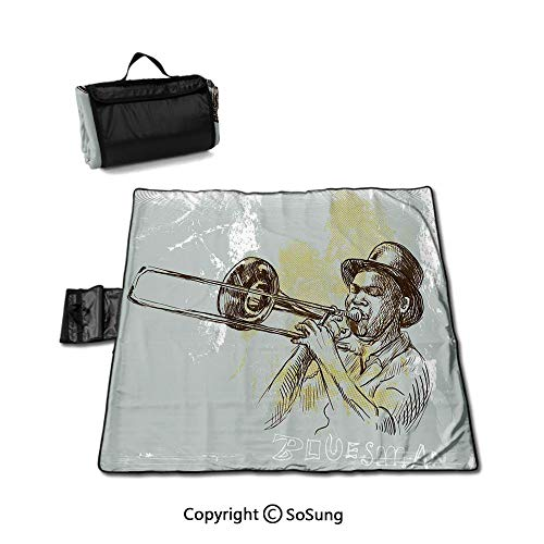 Jazz Music Waterproof Outdoor Picnic Blanket,Trumpet Player Illustration Rock and Roll Party Classic Artful Design Sandproof & Waterproof Picnic Mat Tote for Camping Hiking Grass Travelling,Gray Yello (Best Trumpet Players Of All Time)