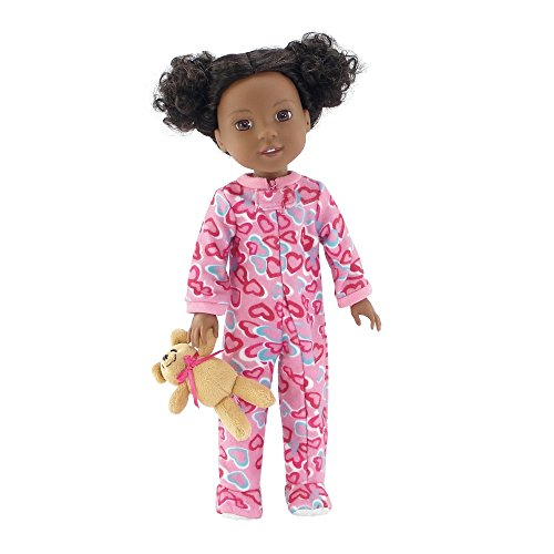 14 Inch Doll Clothes/Clothing | Pink Footed Heart Pajamas PJs Outfit with Teddy Bear | Fits American Girl Wellie Wishers Dolls