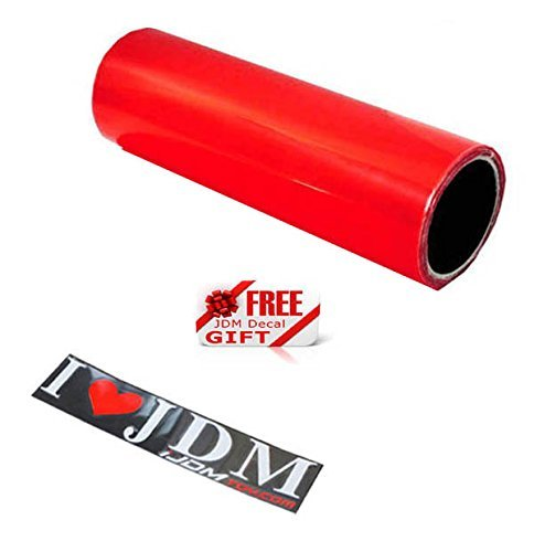 iJDMTOY 12 by 48 inches Self Adhesive Hot Red Taillights Tail Lamps, Fog Lights, Sidemarkers Vinyl Wrap Overlay Film