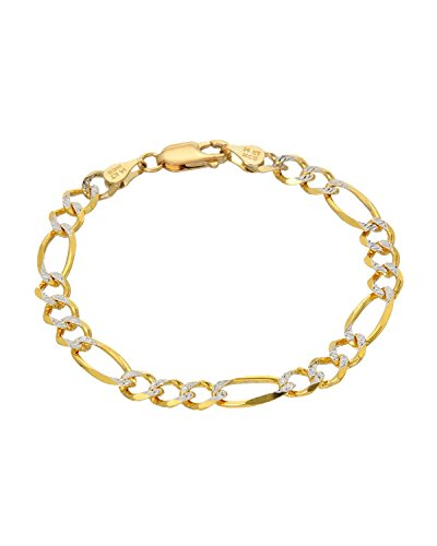MCS Jewelry 14 Karat Yellow Gold Two Tone Figaro Chain Bracelet (6'') by MCS Jewelry