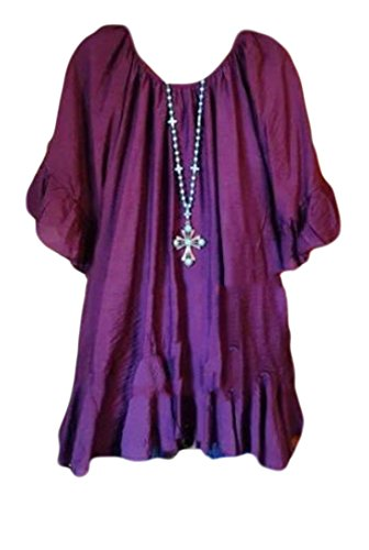 Solid Women's Dress Purple Off Fit Shoulder Dolman Cromoncent Sleeve Relaxed Casual 7z8gRg