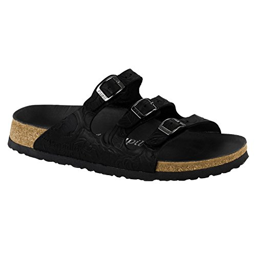 Papillio Womens by Birkenstock Florida Leather Sandals Black