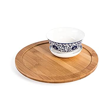 Bamboo Lazy Susan Turntable with Rim, 10  Diameter