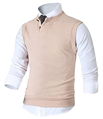 HARRISON83 Mens Slim Fit Henley Neck Button Sweater Pullover Vest ...