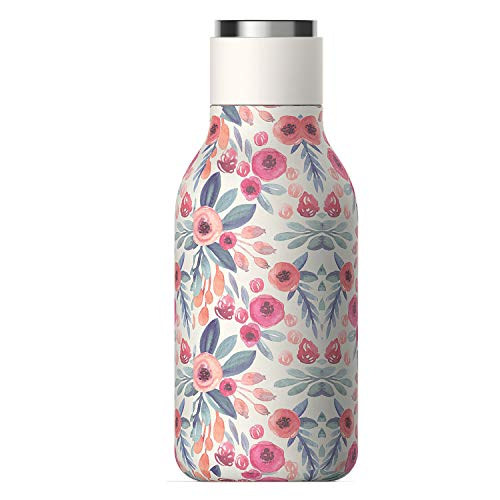 Urban Insulated and Double Walled Stainless Steel Bottle 16 Ounce by Asobu (Floral)