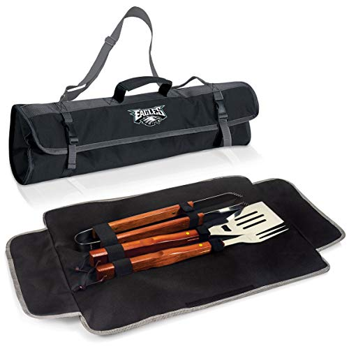 3 Piece NFL Philadelphia Eagles BBQ Set with Tote Bag Sports Football Grilling Kit Garden Patios Outdoor BBQ Utensils Barbecue Grill Multi Tools Spatula, Tongs, Fork, Fans Gift, Stainless Steel, Wood ()