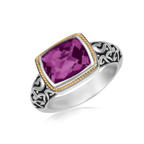 - 18K Yellow Gold and Sterling Silver Rectangular Amethyst Ring
