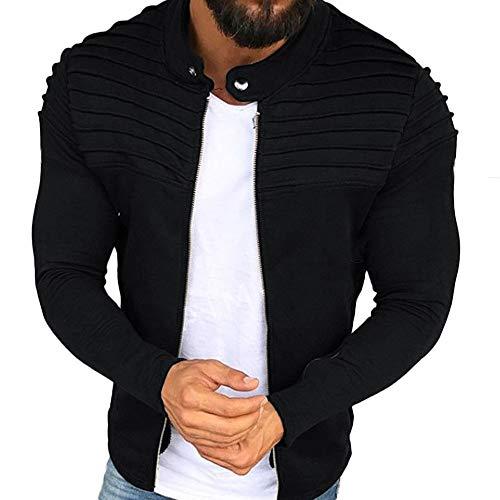 (MILIMIEYIK Blouse Men's Pullover Sweater, Hoodies for Men Lined Fleece Full Zip Plus Size Sweatshirt Jackets Outwear Black )