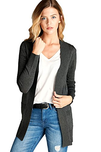 Womens' Long Sleeve Cardigan Open Front Draped Solid Sweater Rib Banded PocketS (M, Charcoal Grey)