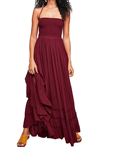 (R.Vivimos Womens Summer Cotton Sexy Blackless Long Dresses (Medium, Wine Red))