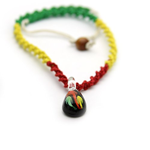 JewelryVolt Twisted Rasta Color Hemp Necklace with Mushrooms in Tear-Drop Glass Pendant Black, Yellow, Green,Red