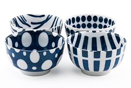 Authentic Japanese Porcelain Rice Bowl Set of 4 Modern Design Blue and White Porcelain Gift Set Made In Japan (5
