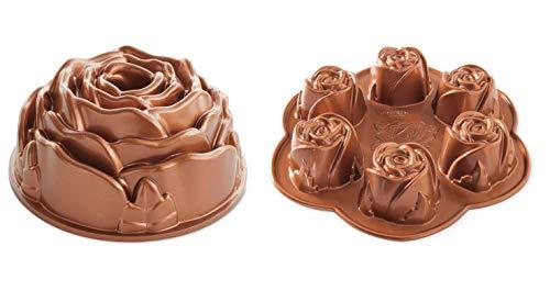(Rose Bundt and Cupcake Muffin Pan Set, Cast Aluminium by Nordic Ware)