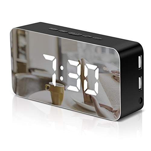 VAlinks Digital Alarm Clock,Voice-Activated LED Mirror Clock with Dual USB Charging Ports,115 Color,Temperature and Weenkend Snooze Clock for Bedroom Office Travel,Black