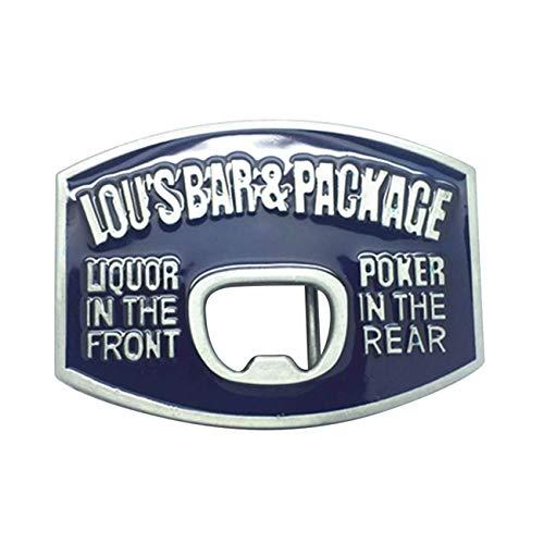 Beer Bottle Opener Large Belt Buckle Western Blue Enamel Vintage Belt Buckle for Men&Women