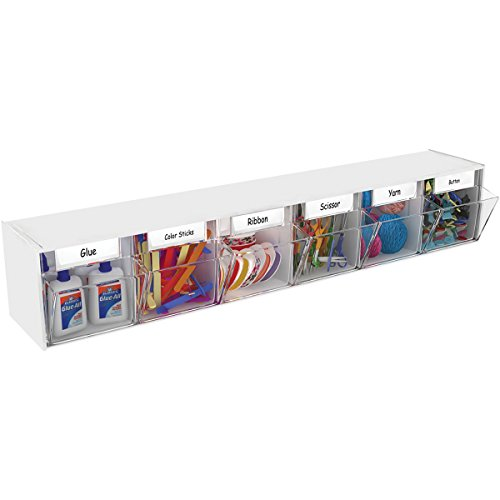 Deflecto Interlocking Tilt Bin Organizers, Six Bin (20603CR) - Bin Tabletop