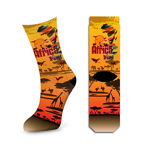 Womens South Africa Crew Socks, Safari Travel African Style Cotton Socks by Samui