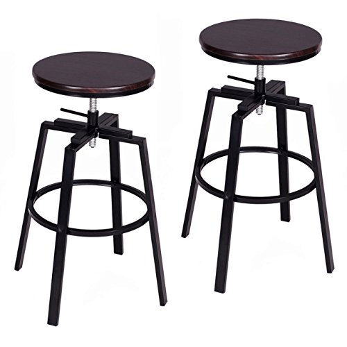 Wood metal Vintage Design Bar Stool Industrial Adjustable Seat Pub Chairs - Set of 2 - Match Online John Price Lewis