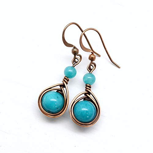 (Copper Wire Wrapped Earrings with Teal Blue Stones)