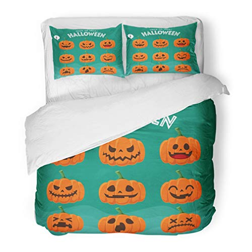 Emvency Bedding Duvet Cover Set Full/Queen (1 Duvet Cover + 2 Pillowcase) Fruit Vintage Halloween Design with Jack O Lantern Character Graphic Calligraphy Hotel Quality Wrinkle and Stain Resistant