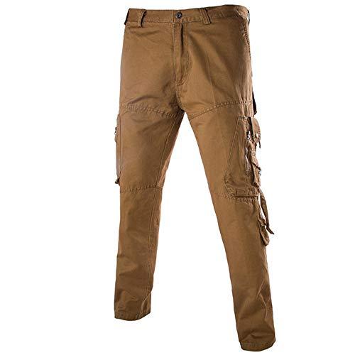 Men's Lightweight Workwear Cargo Pants Ankola Athletic-Fit Cargo Trouser Pant (Asian Size:32, Brown) by Ankola-Men's Pants