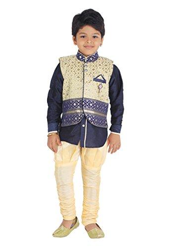 KLAUD ZEE Kids Ethnic Baby Boys' Indo Western Silk Festive and Party Wear Sherwani, Payjama Waistcoat Pant Set 6-7 Years, NAvy by KLAUD ZEE (Image #4)