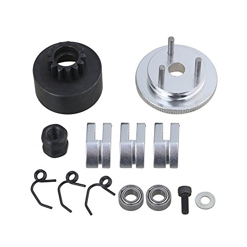 13t Clutch Bell - Mxfans Silver Aluminum Alloy Steel RC N10239 13T Clutch Bell Shoes Springs Bearings Flywheel Assembly Kit Set RC1:8 Car