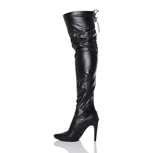 Ajvani Womens Ladies high Heel Pointed Toe Over The Knee Stretch Elastic Riding Boots Size Black Matte Lace Up wWufFH3