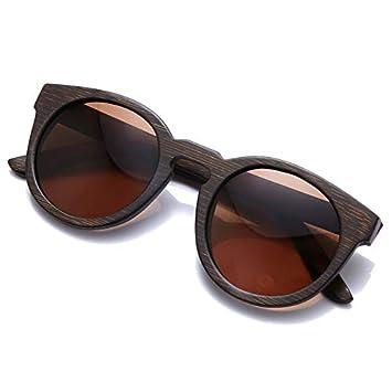 LKVNHP Gafas de Sol polarizadas de bambú Redondas de Madera ...