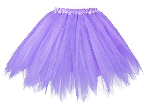 V28 Women's Teen's 1950s Vintage Tutu Tulle Petticoat Ballet Bubble Skirt (Plus Size (US: 10-18), Light Purple)