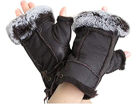 Women's Brown Napa Leather Genuine Shearling Sheepskin Fingerless Gloves - Fur Leather Gloves