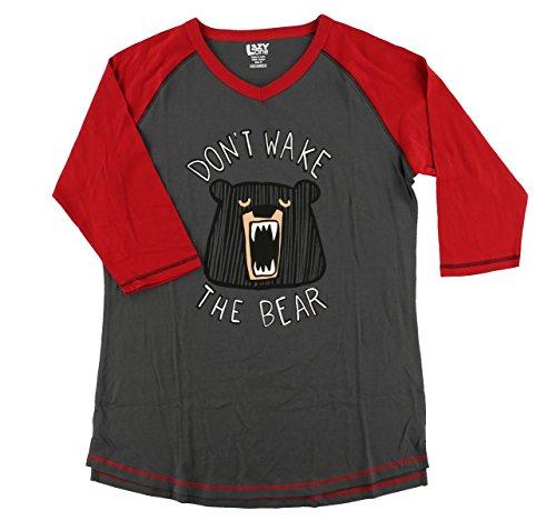 Don't Wake The Bear Women's Legging Pajama Shirt TOP by LazyOne   Pajama TOP for Women (X-Large)