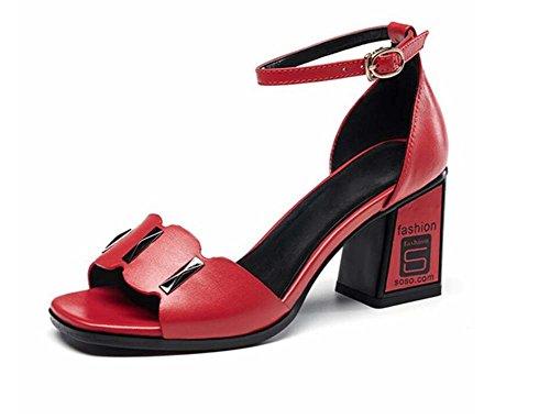 Áspero Sandalias Rojo Tacones Cuero Con Mujer Nuevo Verano Y Americana Hebilla De Altos Zapatos Europea ngwYZqTE