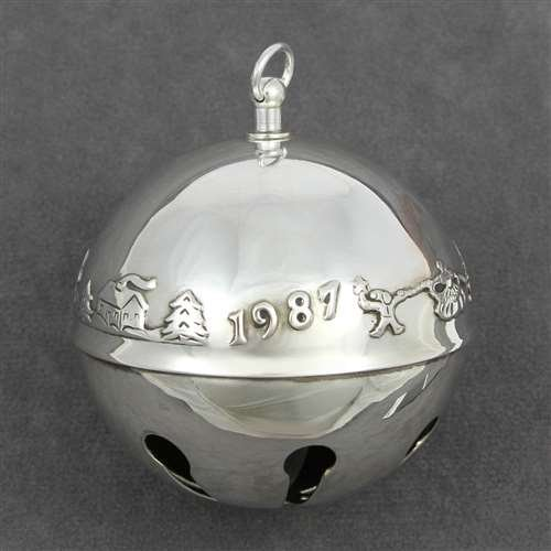 Wallace Sleigh Bell Silverplate - 1987 Sleigh Bell Silverplate Ornament by Wallace