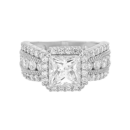 Devin Rose Womens Princess Cut Cubic Zirconia Halo Anniversary/Engagement Ring in Sterling Silver (Size 8) (Stack 8 Princess)