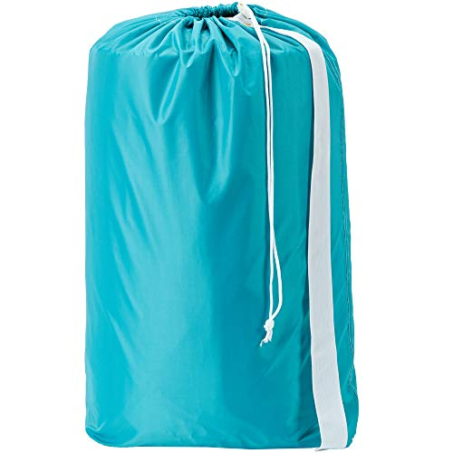 - HOMEST Nylon Laundry Bag with Strap, 28 x 40 Inches Rip-Stop Travel Dirty Clothes Shoulder Bag with Drawstring, Machine Washable, Sky Blue