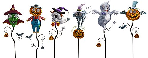 Goblin Guiders - Solar Powered Halloween Decorative Lights - Bundle of 6 - Friendly Ghost, Hair-Raising Cat, Winged Pumpkin, Green Goblin, Jolly Pumpkin Scarecrow and Smiling (Painted Halloween Pumpkins Ideas)