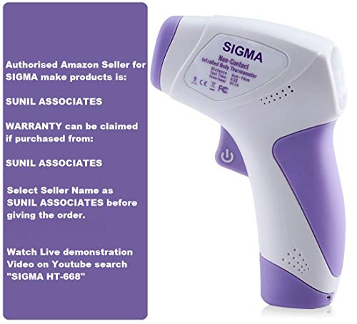 Sigma make Digital Infrared Thermometer Non-contact IR Infrared (Temperature Meter) HT – 668 (32°C ~ 42.9°C, 89.6°F ~ 109.2°F) With 3 Color LCD Display Price & Reviews