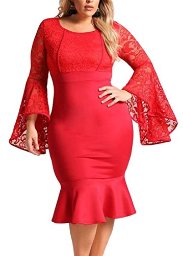 Women Package Red Bell Evening Cocktail Dress ainr Dress Oversize Sleeve Hip Flare Party d0waCxHxRn
