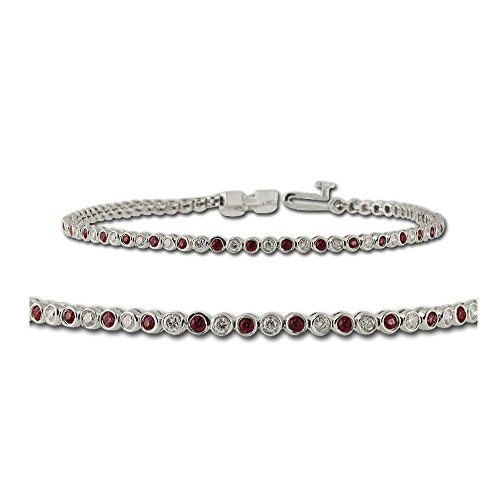 Ruby and Diamond Tennis Bracelet 1.15 ct tw in 14K White Gold