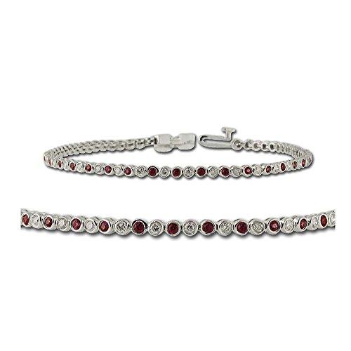 Ruby and Diamond Tennis Bracelet 1.15 ct tw in 14K White Gold
