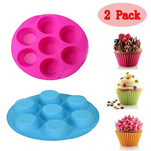 (Set of 2)7 Cavity Silicone Pressure Cooker Egg Bites Molds,Fits 5,6,8 qt Pressure Cooker, Reusable Storage Container Muffin Pudding Mould Bakeware Round Cup Cake Pan Baking Tray